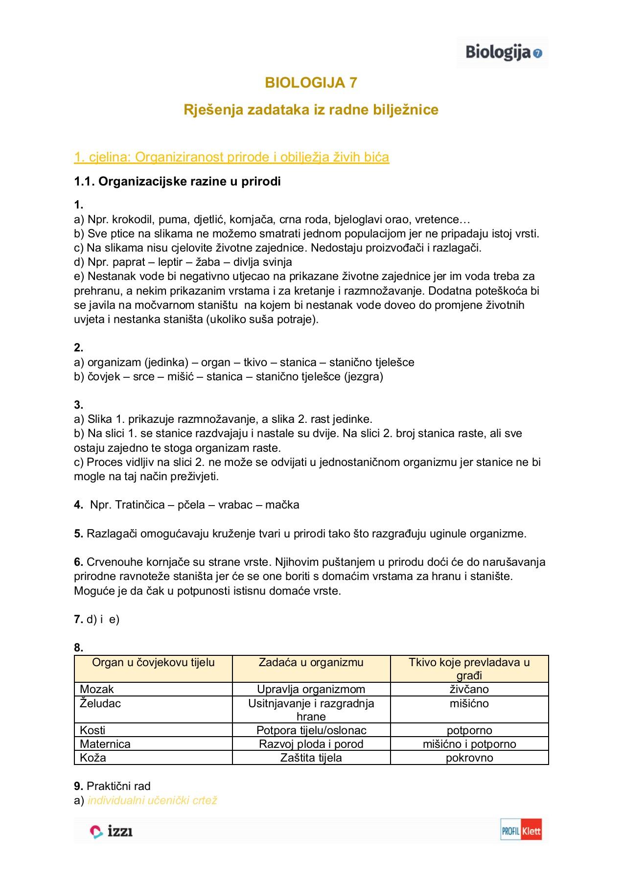 Rjesenja Zadataka Radne Biljeznice Biologija 7