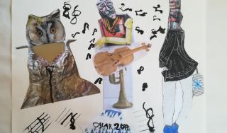 Rekompozicija, kombinirana tehnika kolaž i lavirani tuš, učenik K. B., 8. r.
