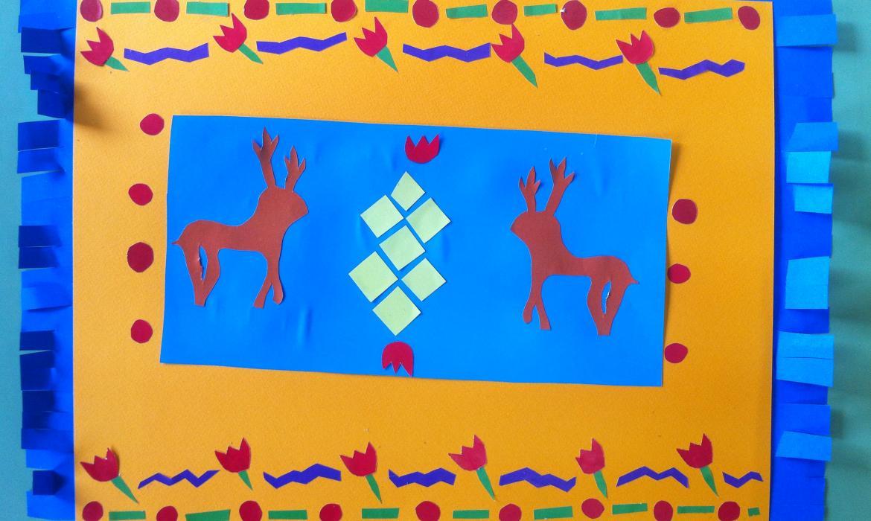 Primjer učeničkih radova, interpretacija tradicijskih motiva, papir-plastika
