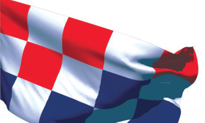 Prijedlog hrvatske zastave graf. dizajnera Borisa Ljubičića, 1990.