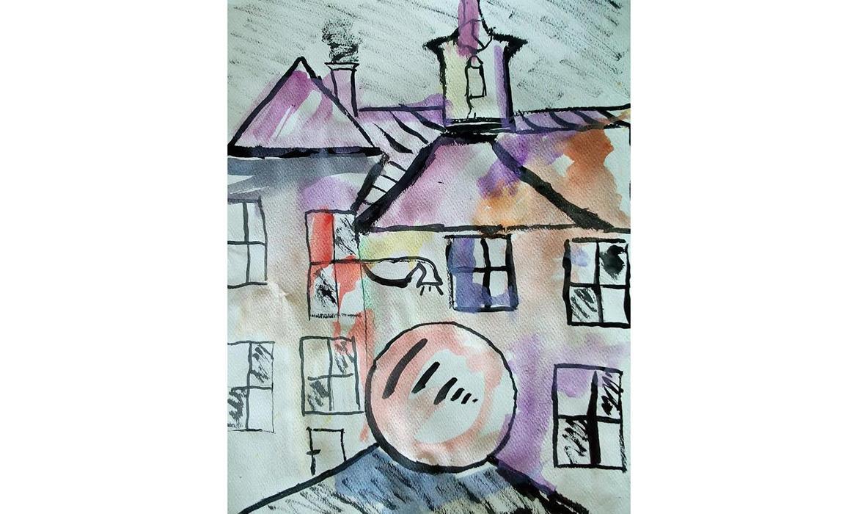 Radićeva ulica u karlovačkoj Zvijezdi - kombinirana tehnika (akvarel i tuš)