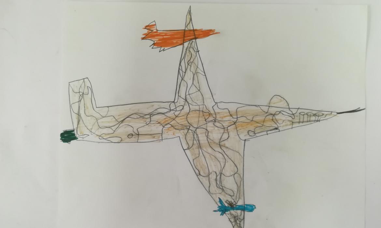 Avion, kombinirana tehnika bojice i flomasteri, učenik T. Č., 7. r.