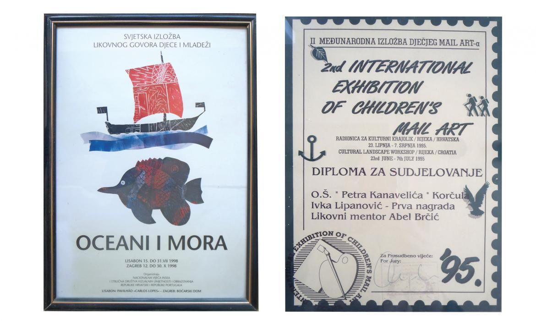 Priznanja koja je A. Brčić osvojio sa svojim učenicima na domaćim i međunarodnim likovnim natječajima