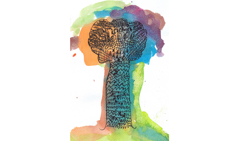 Akvarel crtež stabla polaznika radionice