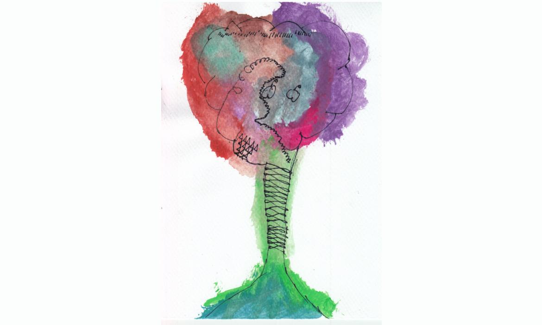 Akvarel crtež stabla jabuke polaznika radionice