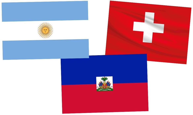 Zastave Argentine, Švicarske i Haitija