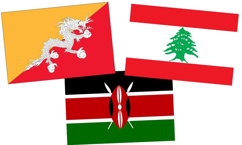 Zastave Butana, Libanona i Kenije