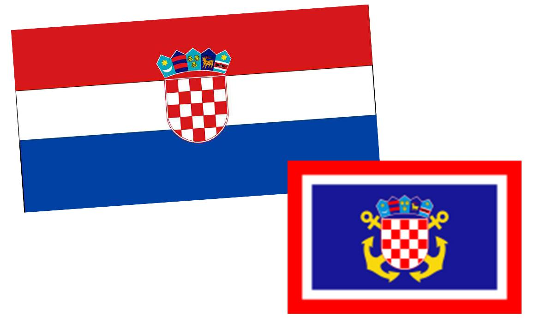 Hrvatski državni stijeg (dizajn akad. slik.graf. Miroslava Šuteja), mornarička zastava za pramac broda