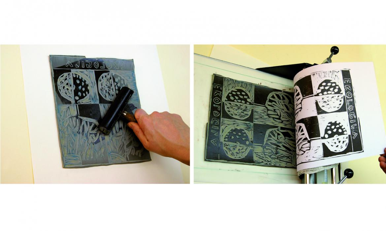 Motiv: stablo, postupak izrade linoreza, Uvod u likovne tehnike, skupina autora, Profil Klett, 2011.