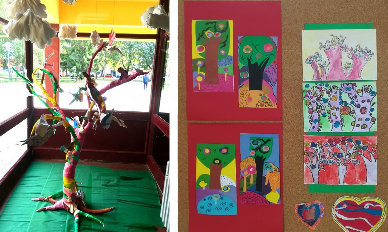 1. Instalacija 'Proljeće' nastala je suradnjom učenika nižih razreda i Likovne sekcije, u sklopu školskog eko-projekta reciklažom od vune i starih tkanina, a postavljena je za dan škole A. Mihanovića. 2. Radovi učenika nižih razreda inspirirani su Stablom slikara Gustava Klimta, nastali kolažiranjem i kombiniranim tehnikama tuš i akvarel, također u sklopu eko-projekta i prvog dana proljeća.