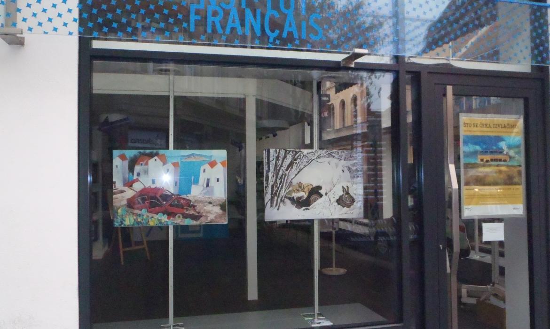 U izlogu Francuskog instituta u Zagrebu izložen je rad A. Brčića u sklopu skupne izložbe