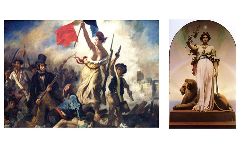 "Slike ""Sloboda voda narod"" Eugènea Delacroixa i ""Republika"" Jeana Leona Geromea."