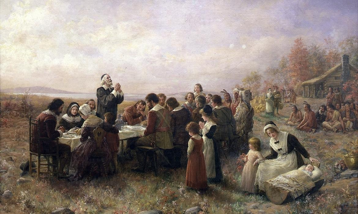 Jennie Augusta Brownscombe: The First Thanksgiving at Plymouth, 1914, Pilgrim Hall Museum, Plymouth, Massachusetts, SAD