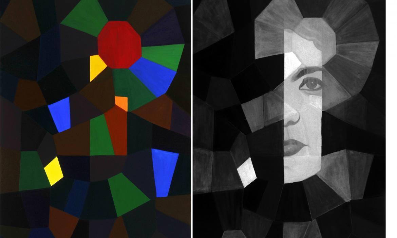 Dijana Nazor, Skriveni autoportret u zrcalu, 2015., akril na platnu, slika u vizualnom i u  bliskom IR spektru